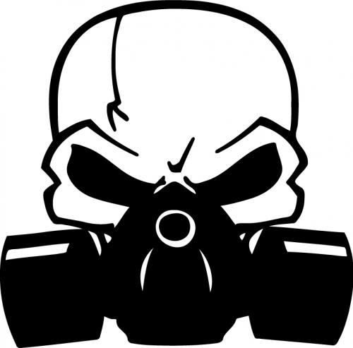 Skull Grenade Drawing Skull Gasmask Sticker